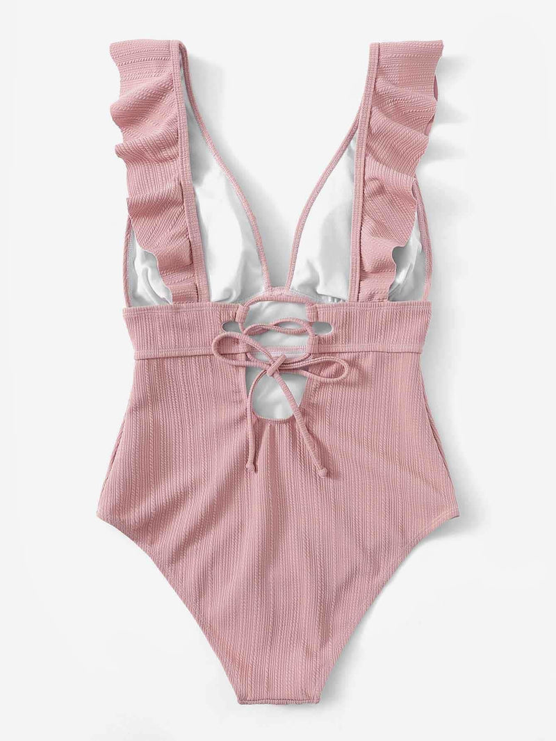 Plunging Ruffle One Piece Swimsuit - S / Pink - One Piece Swimwear