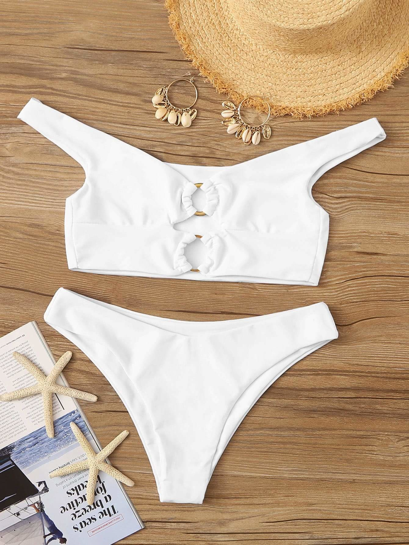 Plus Cut Out Top With High Cut Bikini Set - S - Bikini