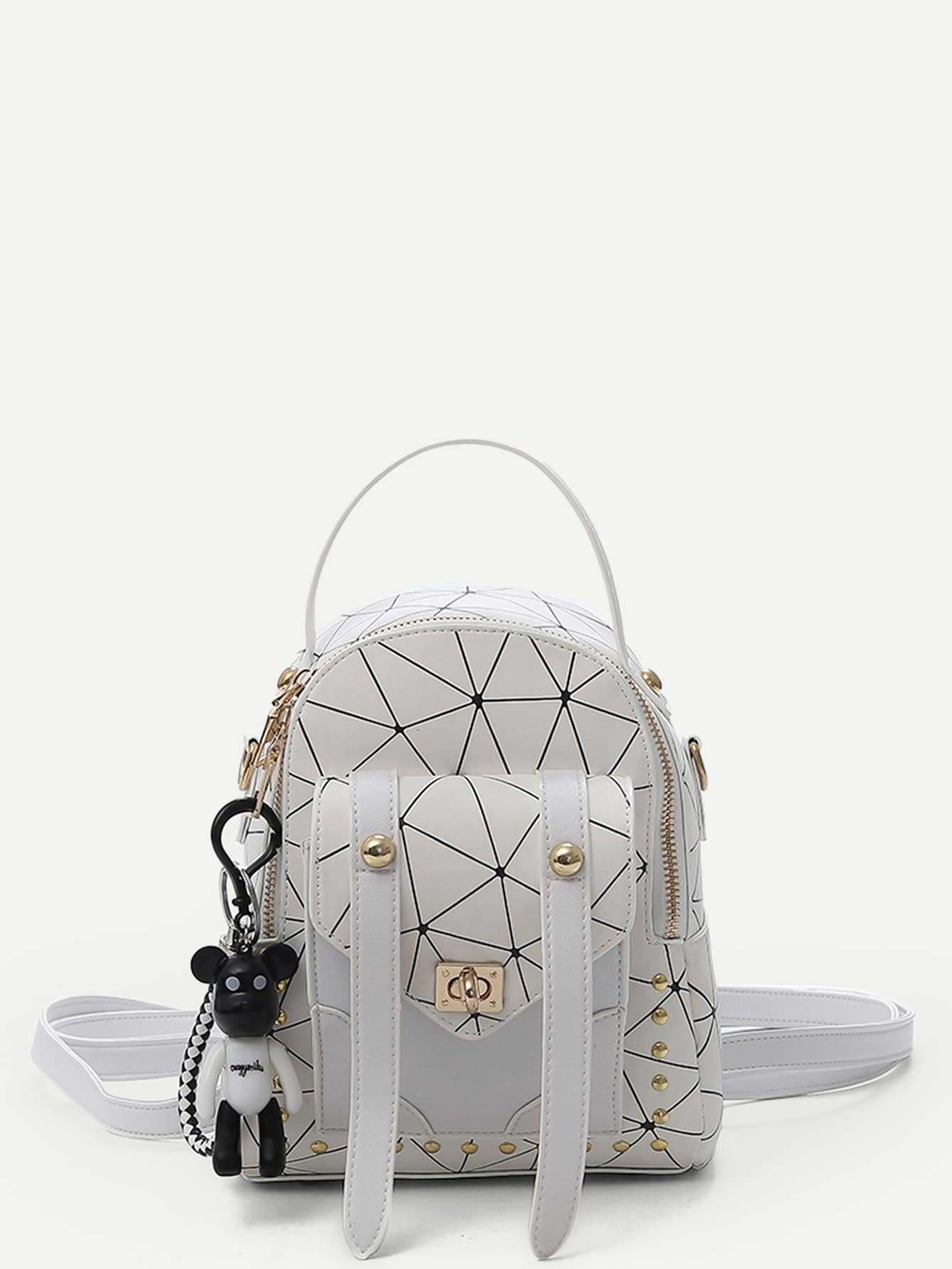 Pocket Front Geometric Backpack