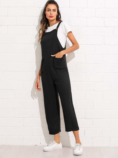 Pocket Front Rolled Up Hem Pinafore Jumpsuit - Womens Jumpsuits