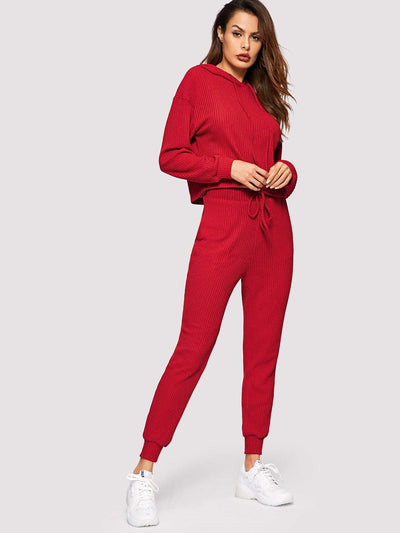 Pocket Patched Solid Hoodie And Drawstring Waist Pants Set - Sportsuit