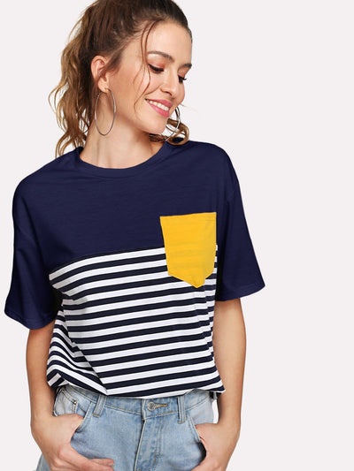 Pocket Patched Striped Tee - Shirts