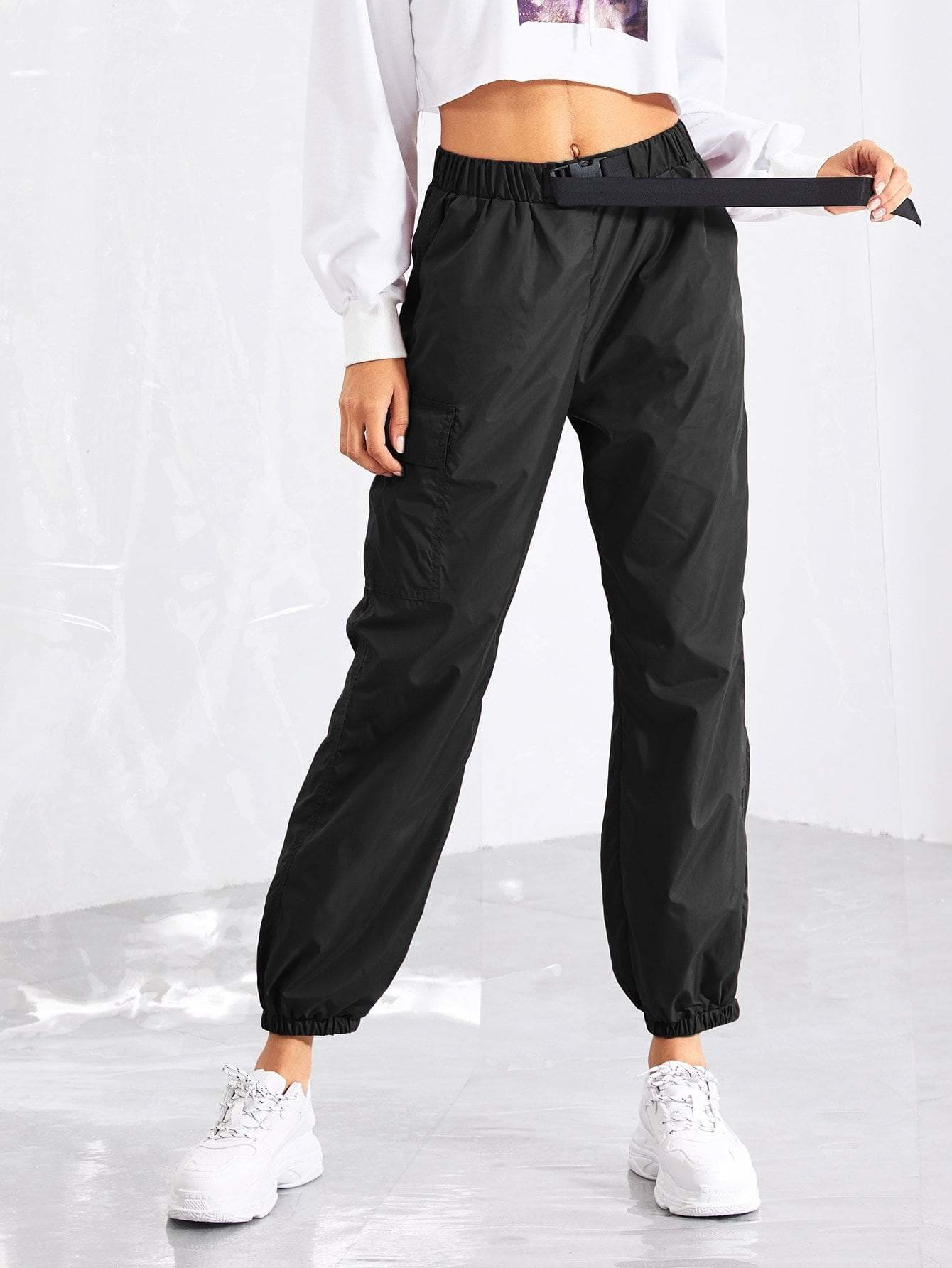 Pocket Side Drawstring Waist Utility Pants - Fittness Leggings