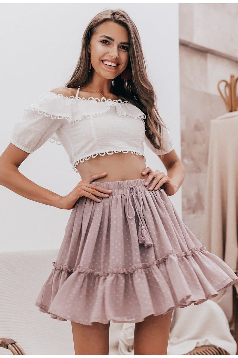 Polka Dot High Waist Tassel Ruffle Skirt