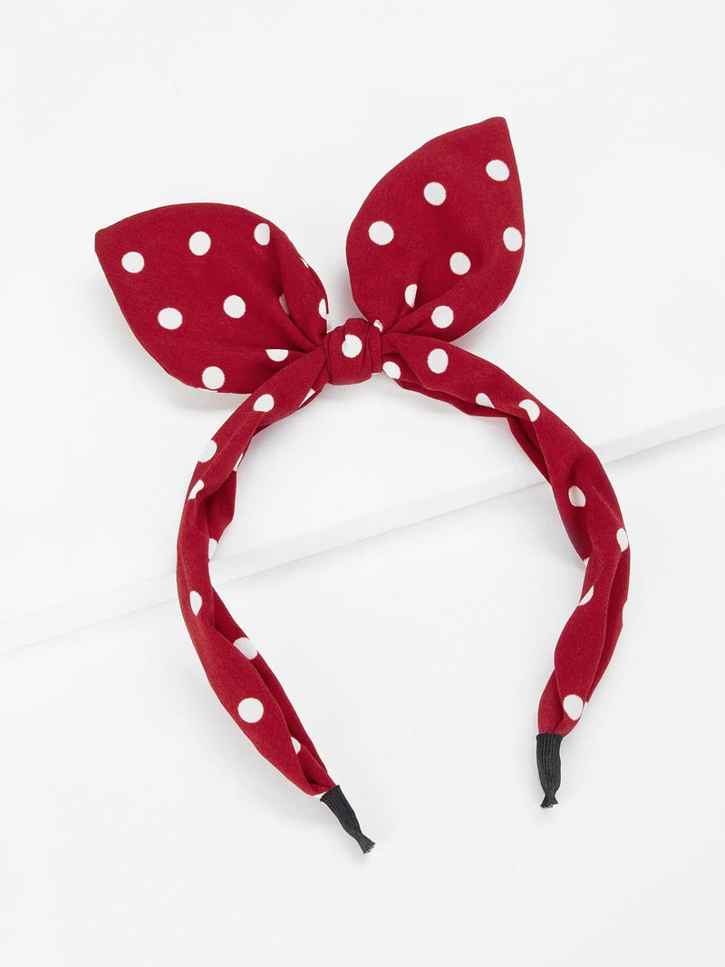 Polka Dot Pattern Headband With Rabbit Ear - Hair Accessories