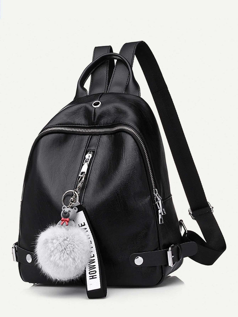 Pom Pom Decor Zip Around Backpack - Womens Bag