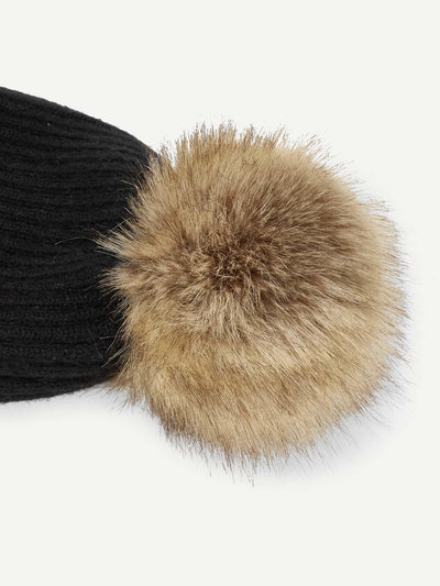 Pom Pom Decorated Beanie Hat - Hats & Gloves