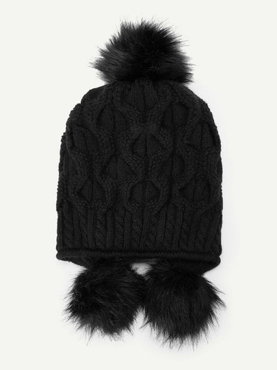 Pom-Pom Decorated Beanie Hat - Hats & Gloves
