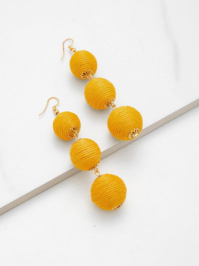 Pom Pom Design Drop Earrings - Earrings