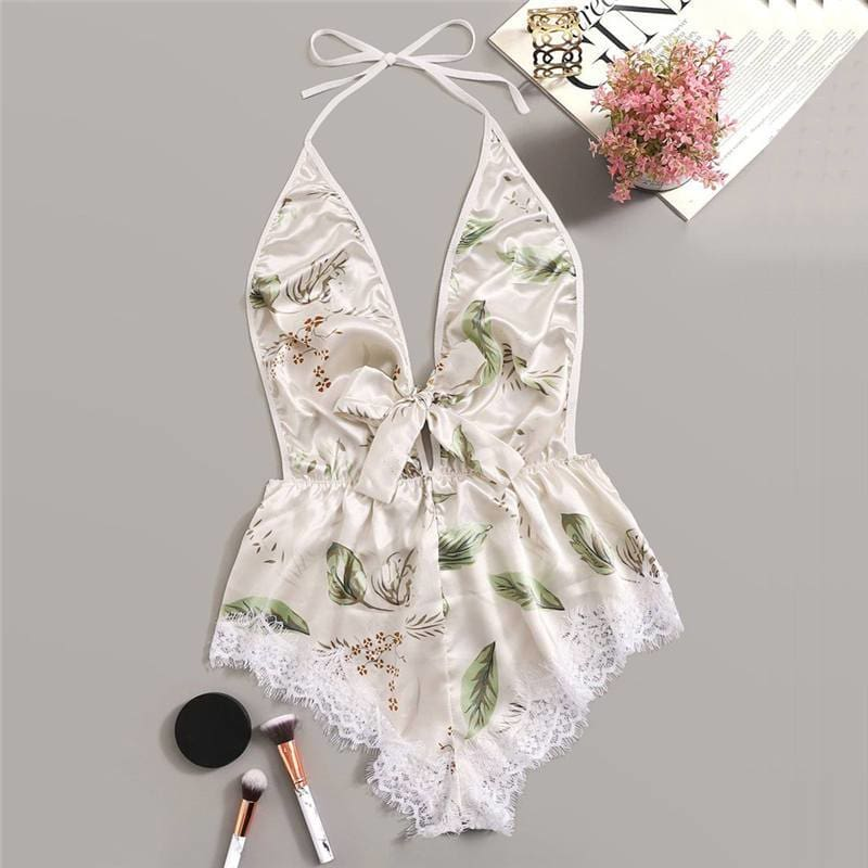 Printing Lace Bow Pajamas - Print / XL - Nightwears