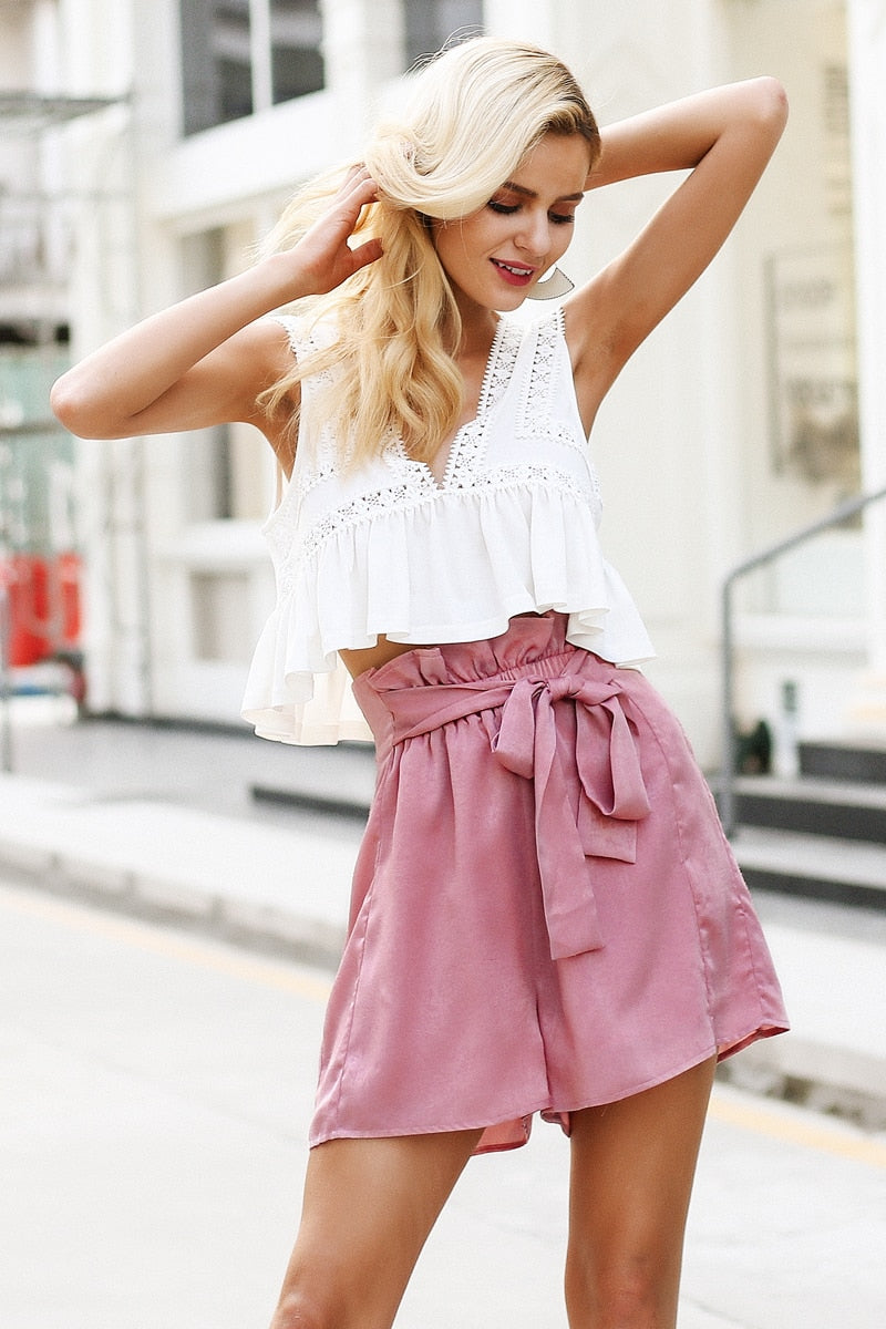 Satin Ruffle Bow Loose Shorts