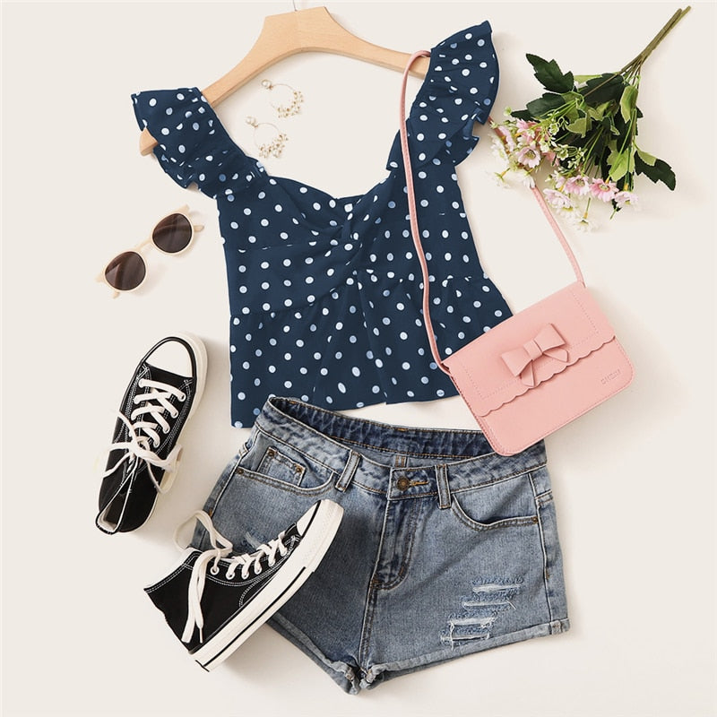 Navy Twist Polka Dot Boho Peplum Crop Top