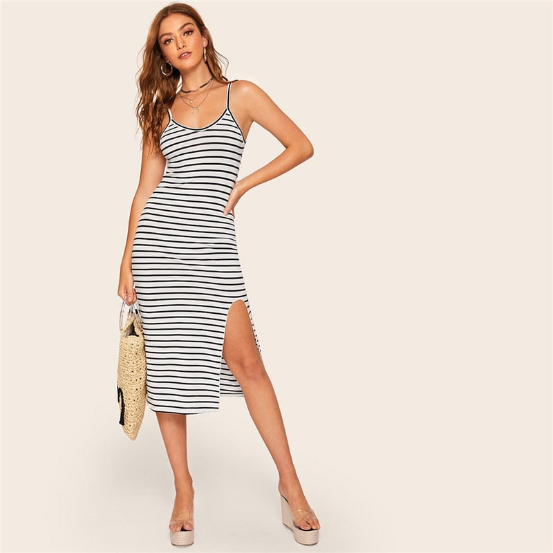 Black and White Striped Split Bodycon Midi Dress