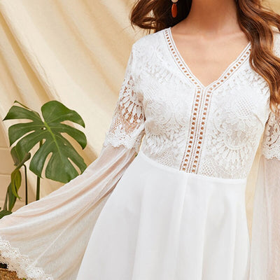 V Neck Knot Backless Lace Mesh Sleeve Boho Mini Dress