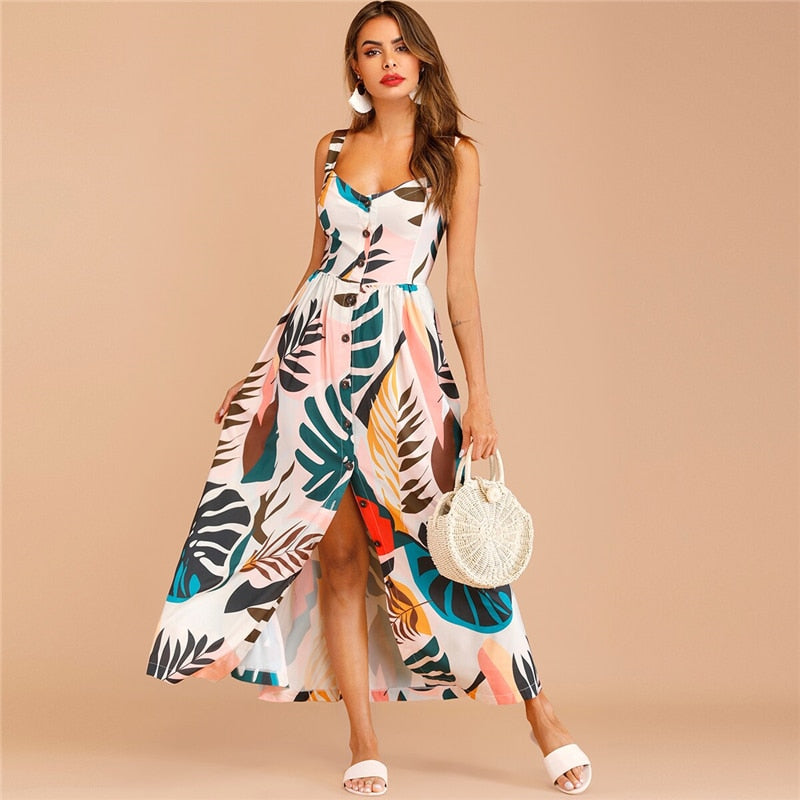 Straps Button Through Tropical Print Boho Maxi Dress