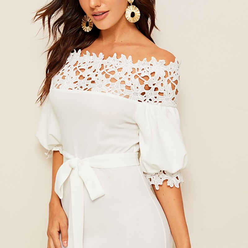 White Lace Off Shoulder Bodycon Going Out Midi Dress