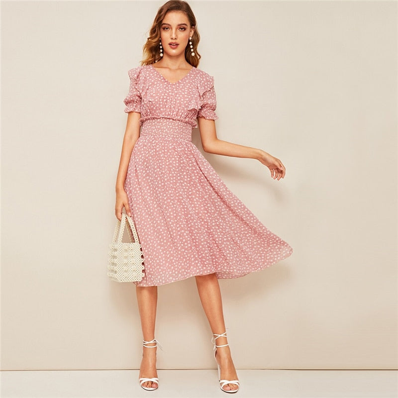 Pink V Neck Ruffle Trim Puff Sleeve Boho Midi Dress
