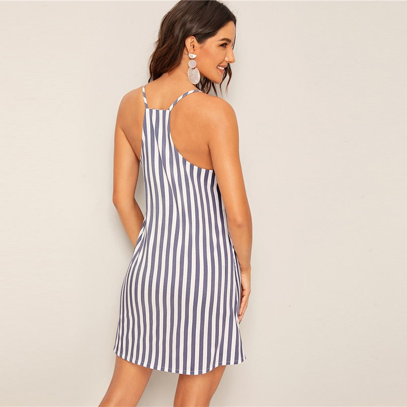 Blue Spaghetti Strap Striped Shift Boho Day Mini Dress