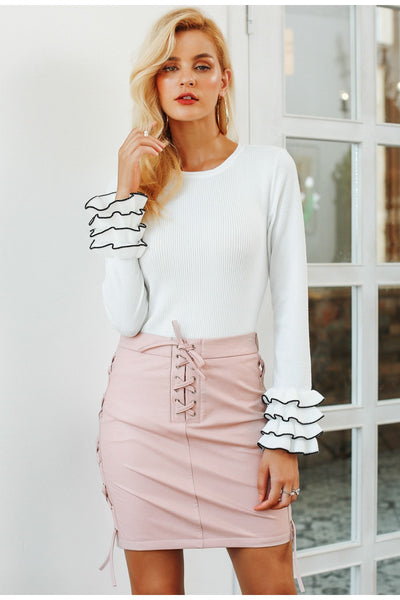 Lace Up Pu Leather Pencil Skirt