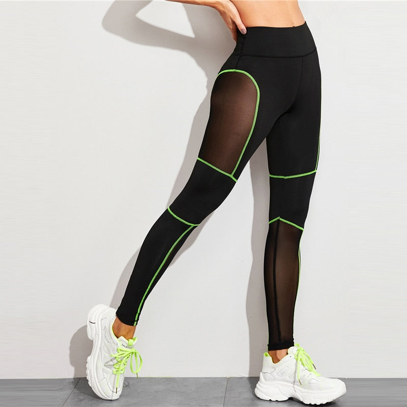 Black Contrast Binding Mesh Panel Leggings