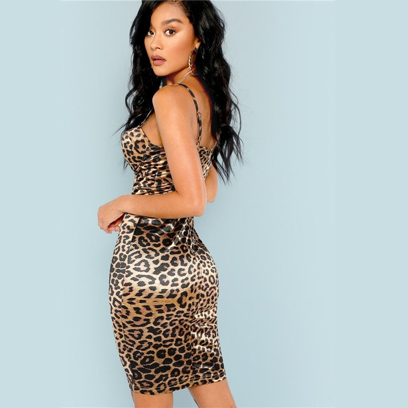 Leopard Print Bustier Bodycon Party Midi Dress
