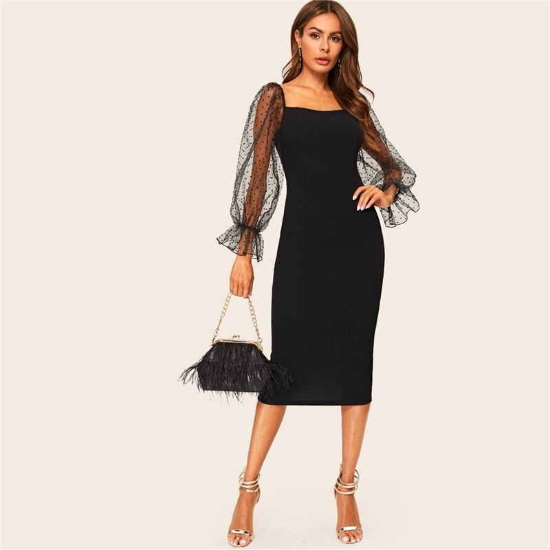 Black Dot Mesh Square Neck Bodycon Going Out Midi Dress