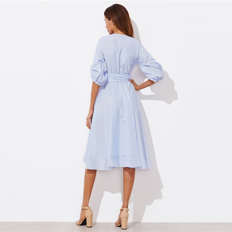 Blue Gathered Sleeve Pinstripe Ruffle Midi Dress