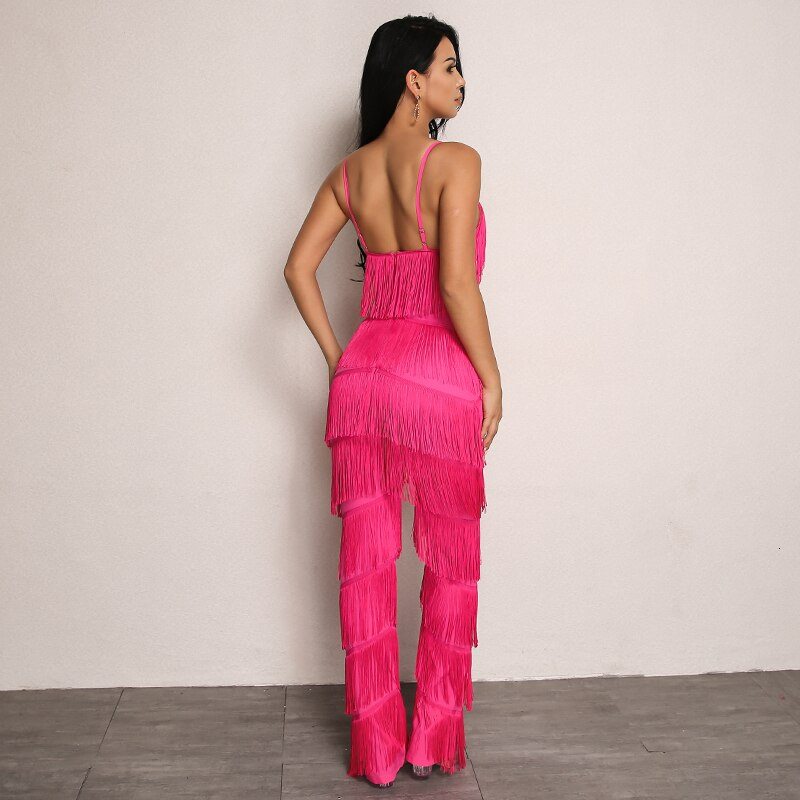 Open Back Tiered Fringe Patched Cami Jumpsuit
