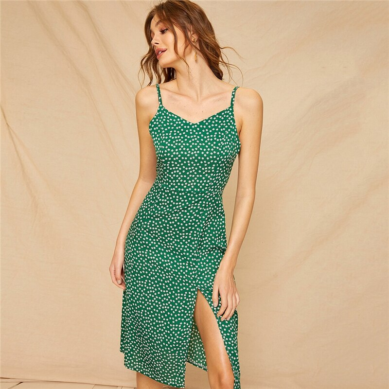 Green Split Slim Floral Print Boho Day Midi Dress