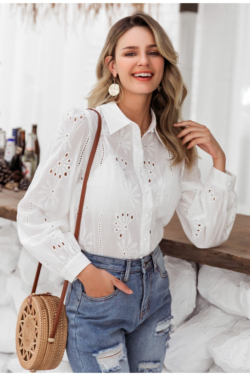 Flower Embroidery Cotton Hollow Out Blouse