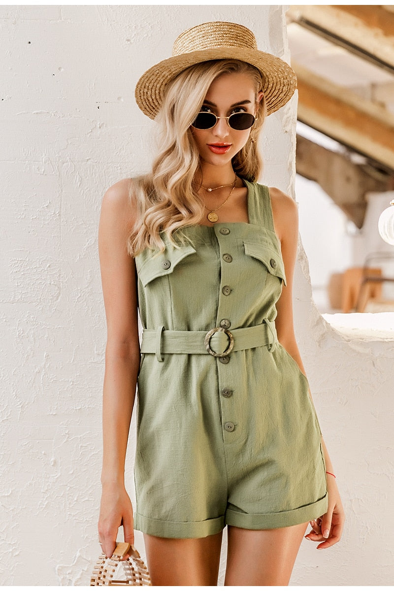 Cotton Linen Sash Belt Romper