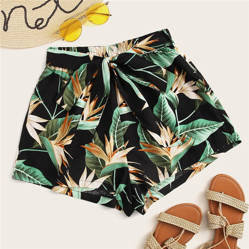 Tropical Print Boho Belted Shorts