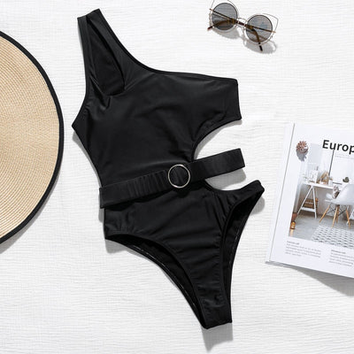 Black Hollow Out Belt One Shoulder Monokini