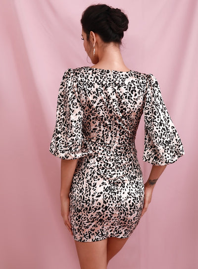Deep V-Neck Ruffled Lantern Sleeve Leopard Party Mini Dress