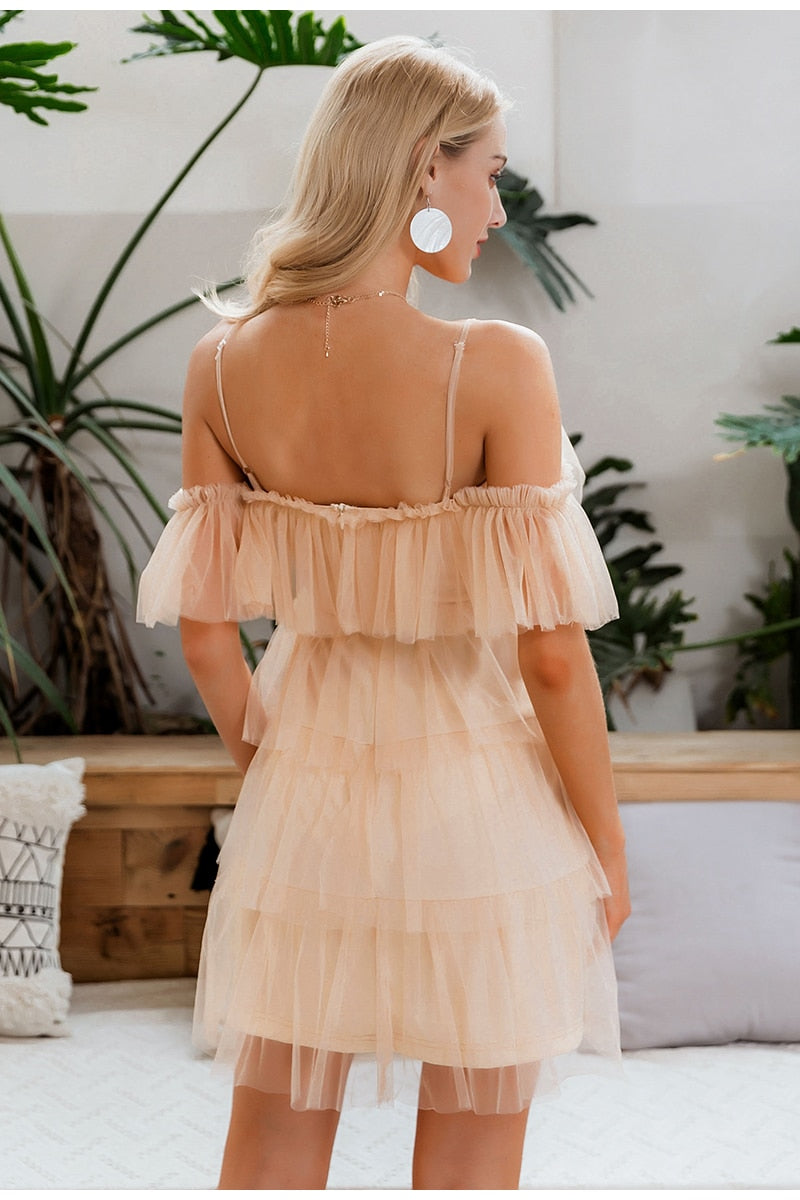 Ruffles Multi-layer Mesh Off Shoulder Party Mini Dress