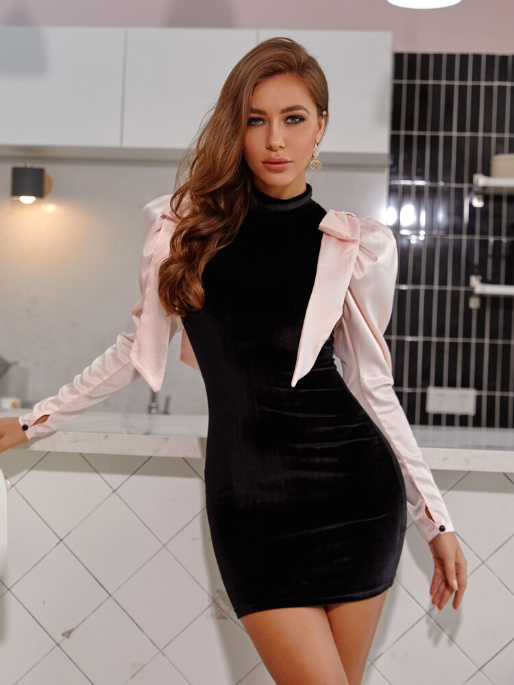 Black Bow Tie Velvet Going Out Puff Sleeve Mini Dress