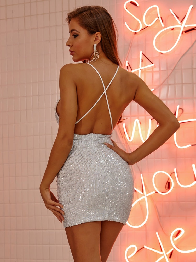 Deep V Neck Backless Silver Sequin Party Mini Dress
