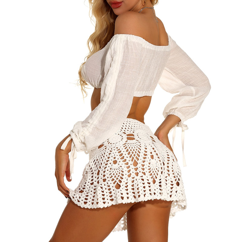 Crochet Flower Top And Skirt Cover Up