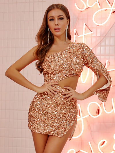 Sexy Gold Sequin One Shoulder Hollow Out Party Dress