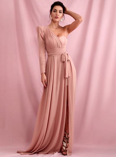 Pink Chiffon Split Single Sleeve Prom Maxi Dress