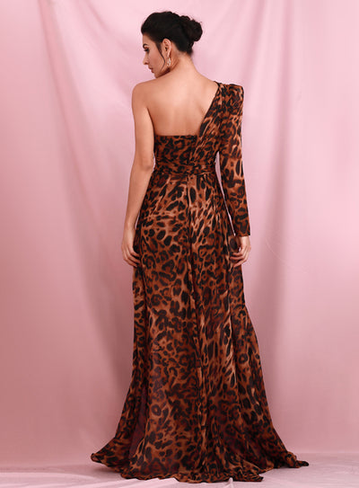 Brown Leopard Chiffon Split Prom Maxi Dress