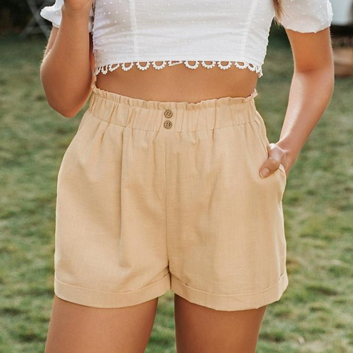 Buttons High Waist Cotton Shorts