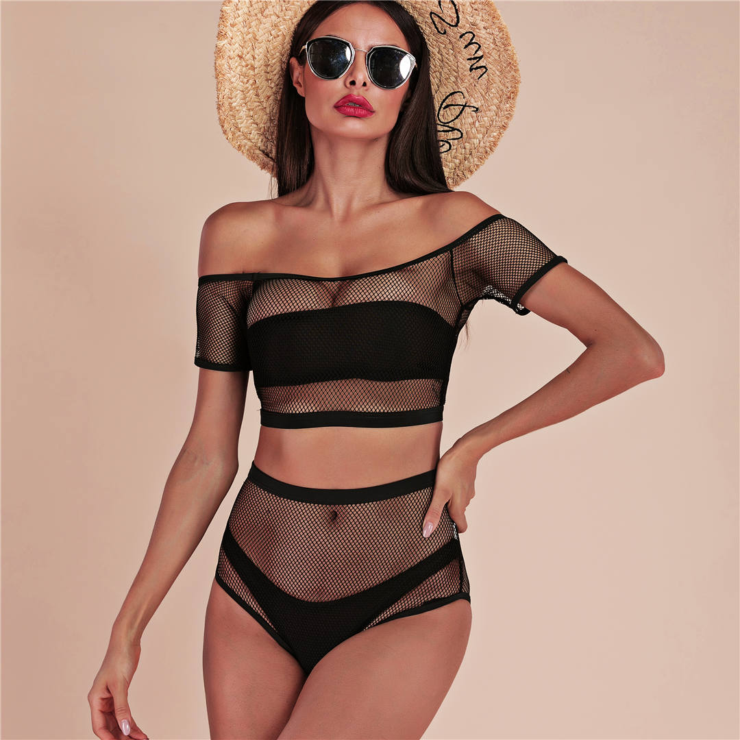 Off Shoulder Mesh High Waist Bikini 4 Pieces