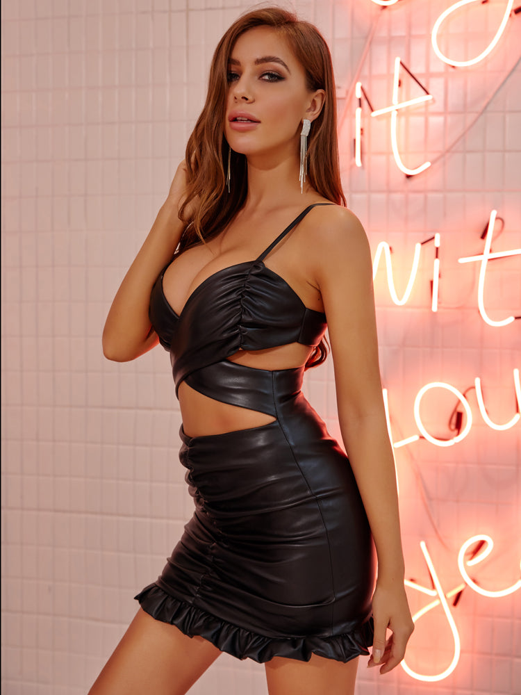 Black PU Leather Cut Out Hollow Out Ruched Party Dress