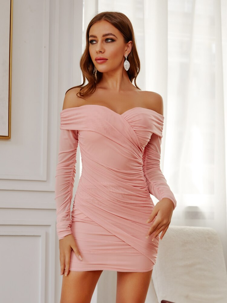 Pink Mesh Off Shoulder Ruched Going Out Mini Dress
