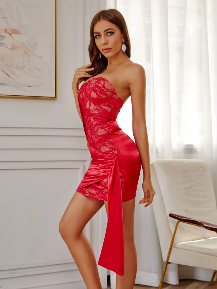 Red Lace & Satin Drop Strapless Mini Party Dress
