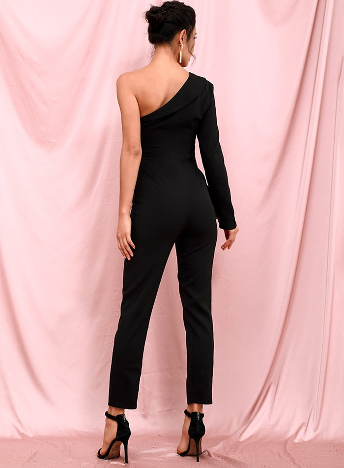 Black Tube Top Two Piece Single Sleeve Bodycon Jumpsuit
