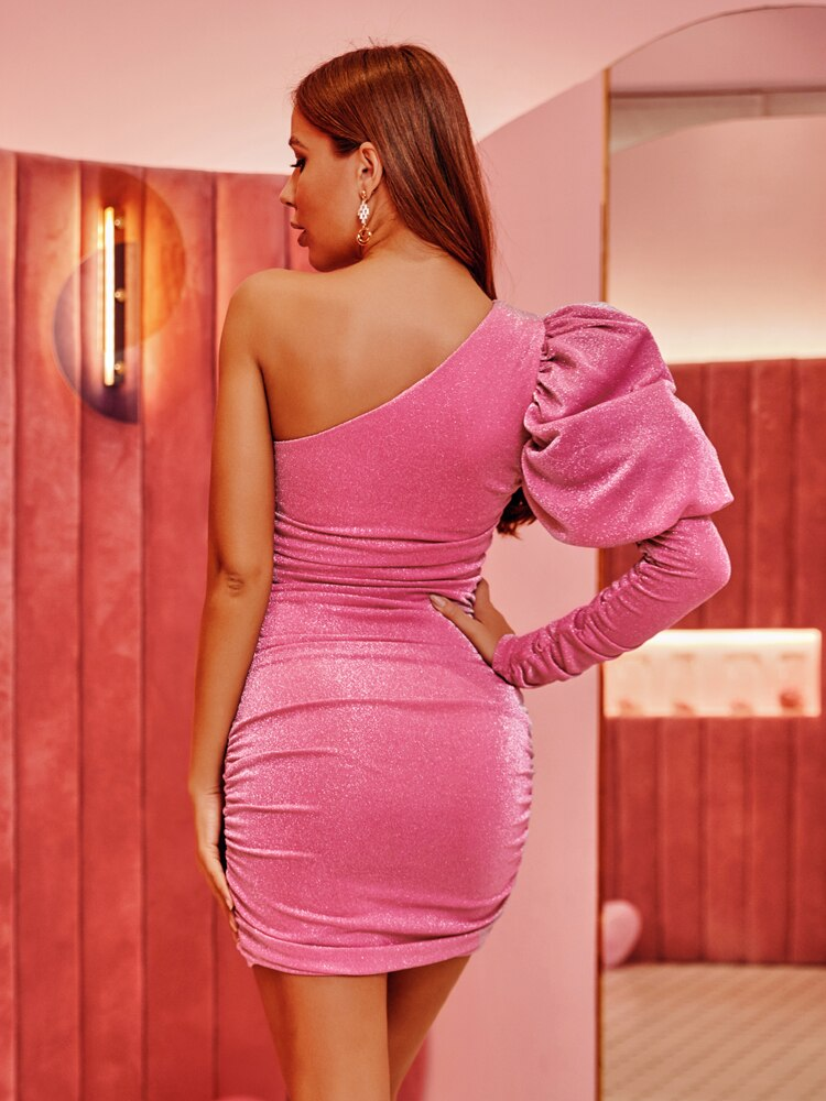Glitter One Shoulder Puff Sleeve Ruched Party Mini Dress