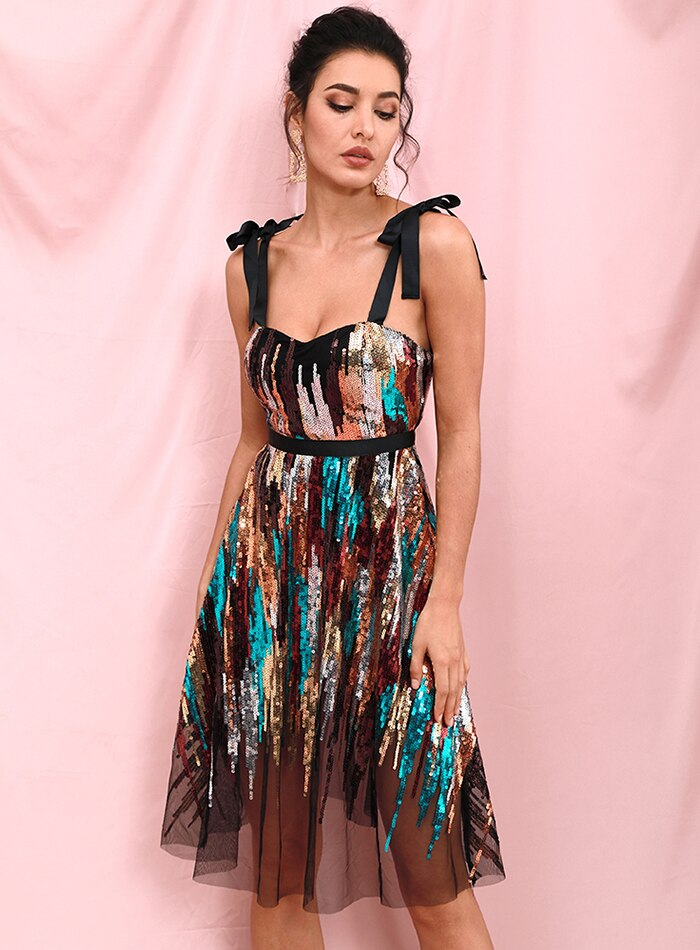Sexy Tube Top Band Sequin Going Out Midi Dress