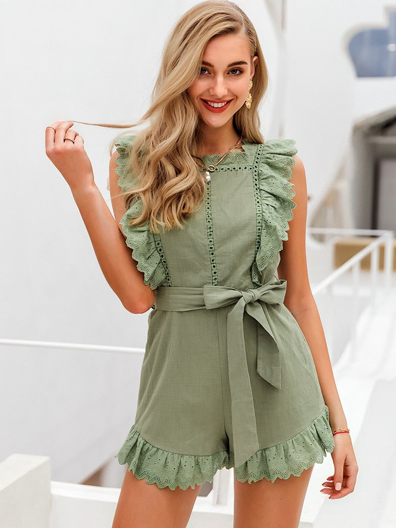 Elegant Ruffle Hollow Out Sashes Cotton Romper